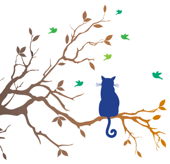 Illustration of a cat sitting on a tree branch watching birds fly
