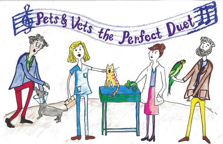 "National Pet Week 2020 poster ""Pets & Vets the Perfect Duet"""
