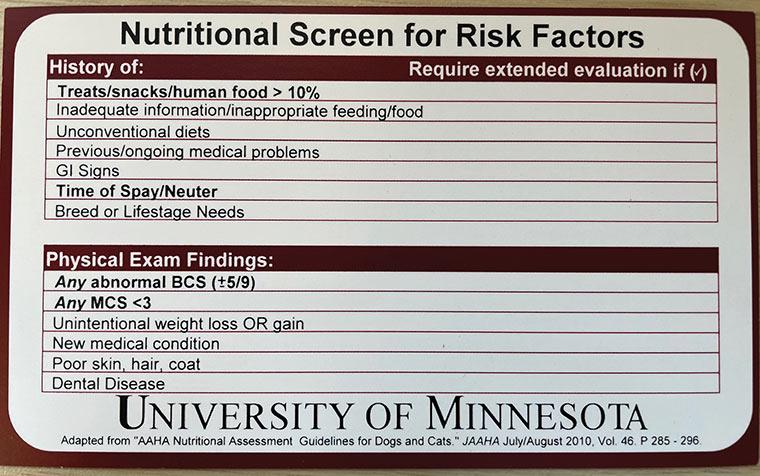 University of Minnesota screening card