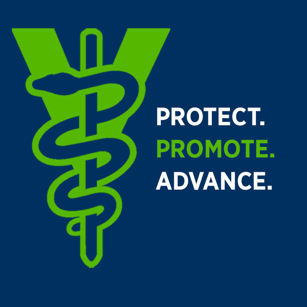 "The veterinary aesculapius accompanies the words ""Protect. Promote. Advance."""