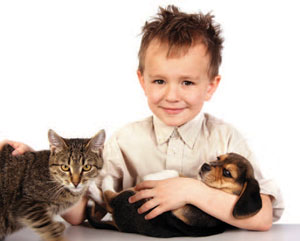 Youngster with pets