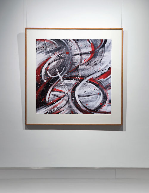 Photograph of a piece of framed abstract art
