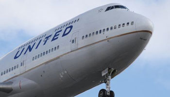 Nose of a United Airlines jet