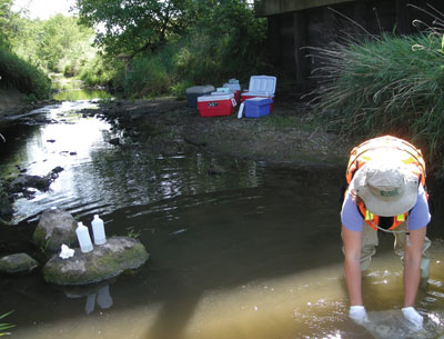 USGS scientist collecting water sample