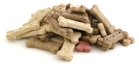 A pile of bone-shaped dog treats