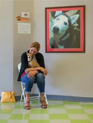 Canine pet owner in the waiting room