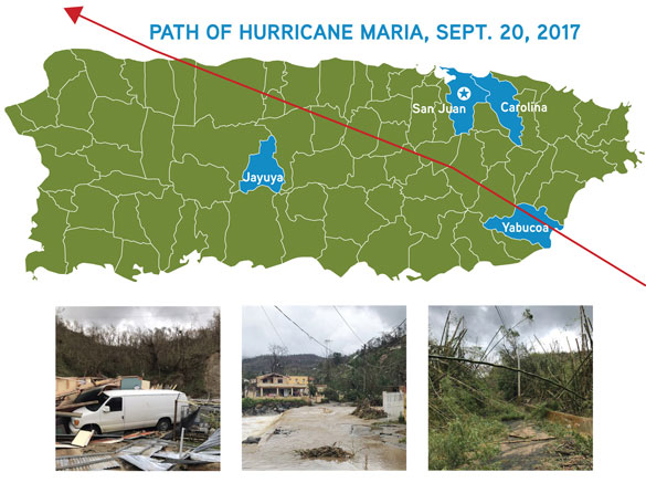 Map of Puerto Rico showing path of hurricane and 3 other images of the aftermath