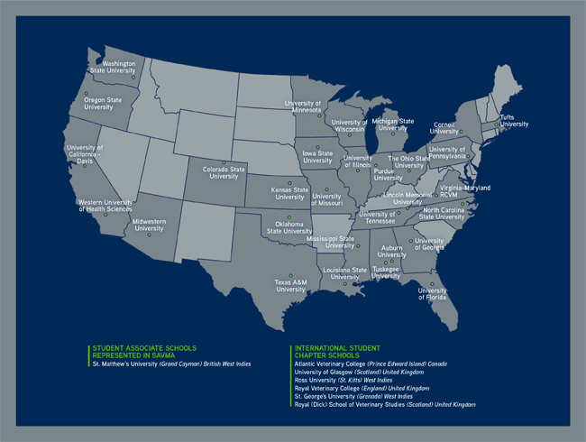 Student Chapters and Associate schools of the AVMA