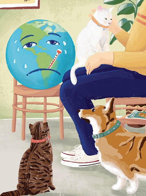Illustration: Vet and pets in an ailing world
