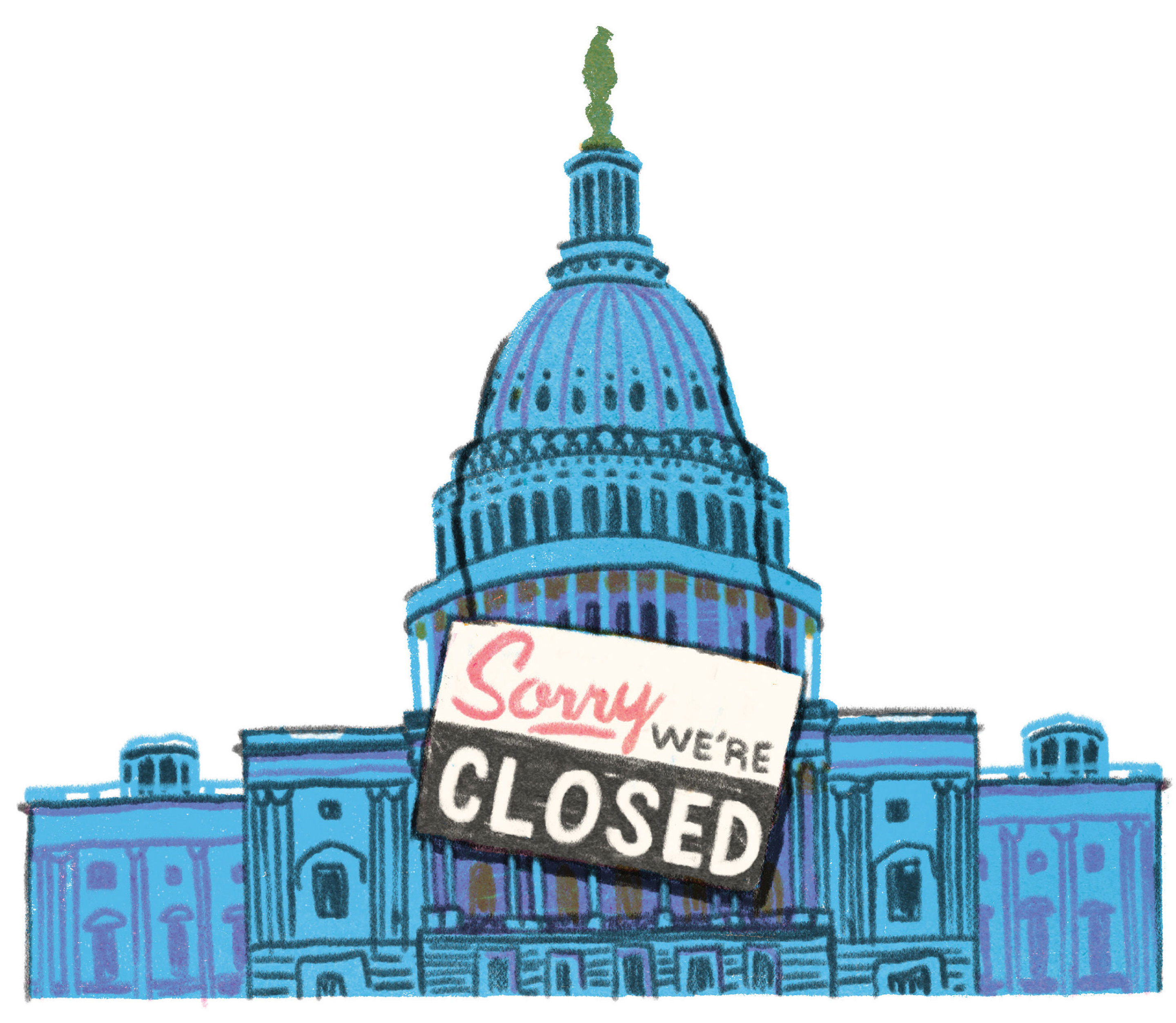 Illustration of U.S. Capitol building with a sign reading: 'Sorry, we're closed'